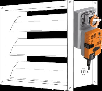 Orange spjældmotorer fra Belimo til regulering af varm og kold luft i ventilationssystemer.